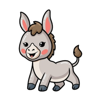 Niedliche baby-esel-cartoon-pose