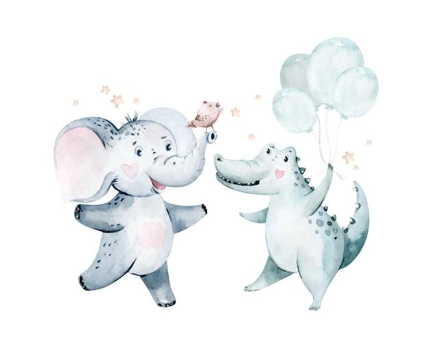 Niedliche baby-geburtstags-party kindergarten aquarell tanzen elefant krokodil tier isoliert illustration