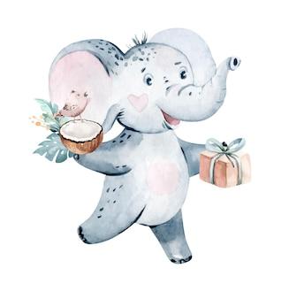 Niedliche baby-geburtstags-party kindergarten aquarell tanzen elefant tier isoliert illustration baby