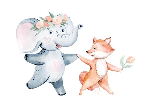 Niedliche baby-geburtstags-party kindergarten aquarell tanzen fuchs elefant tier isoliert illustration
