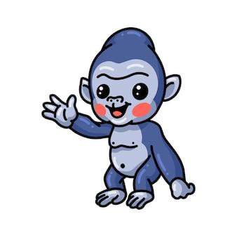 Niedliche baby-gorilla-cartoon winkende hand