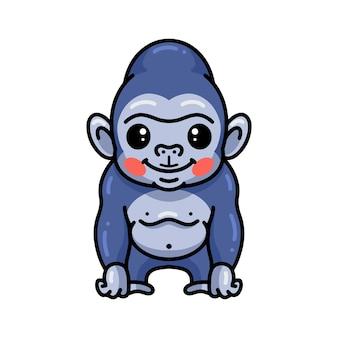 Niedliche baby-gorilla-karikatur posiert