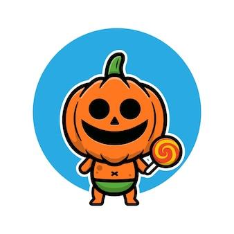 Niedliche baby-kürbis-halloween-cartoon-vektor-illustration