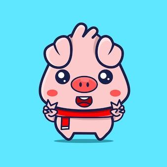 Niedliche baby-schwein-charakter-kawaii-designs
