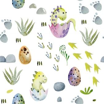 Niedliche babydinosaurier des aquarells im nahtlosen muster der eier
