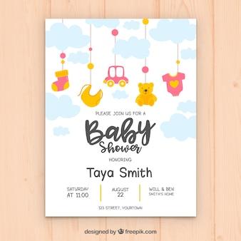 Niedliche babyduscheneinladung