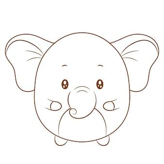 Niedliche babyelefanten-zeichnungsskizze zum ausmalen Premium Vektoren