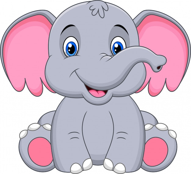 Niedliche babyelefantkarikatur