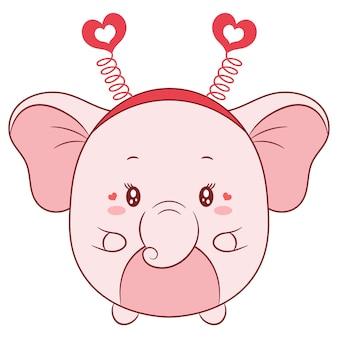Niedliche babyelefantzeichnung des glücklichen valentinstags
