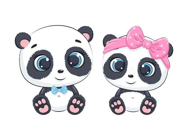 Niedliche babyjungen- und babymädchenpanda-karikaturillustration