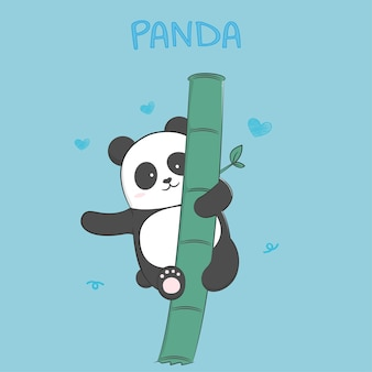 Niedliche babypanda-pastellkarikatur