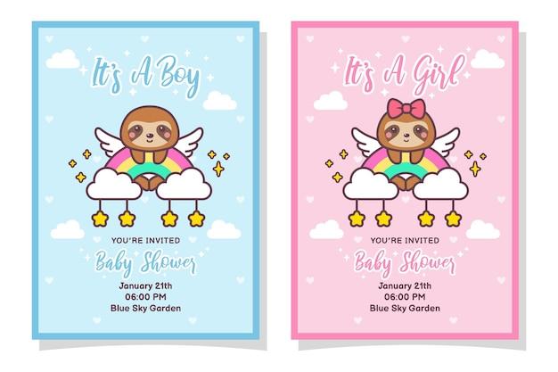 Niedliche babyparty-jungen- und mädchen-einladungskarte mit faultier, wolke, regenbogen und sternen