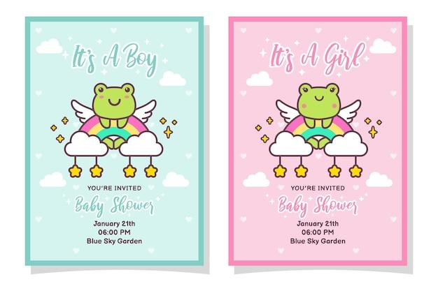 Niedliche babyparty-jungen- und mädchen-einladungskarte mit frosch, wolke, regenbogen und sternen