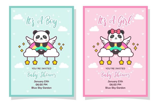 Niedliche babyparty-jungen- und mädchen-einladungskarte mit panda, wolke, regenbogen und sternen