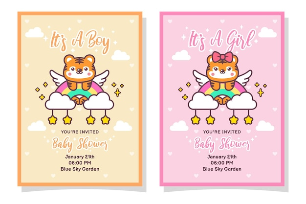 Niedliche babyparty-jungen- und mädchen-einladungskarte mit tiger, wolke, regenbogen und sternen