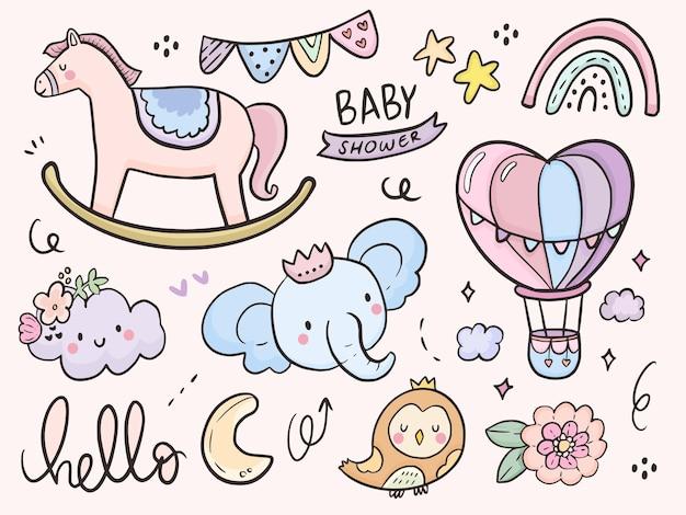 Niedliche babyparty- und tierbabyillustrationszeichnungskarikatur für kinder, die färbung und druck Premium Vektoren