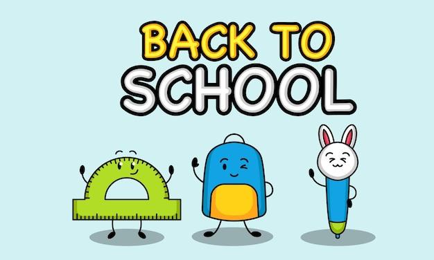 Niedliche back to school maskottchen design banner vorlage
