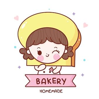 Niedliche bäckerei mädchen cartoon kawaii essen dessert hand gezeichnet