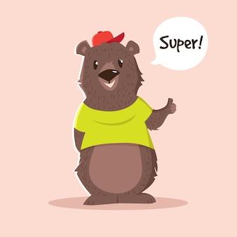 Niedliche bären-cartoon-figur
