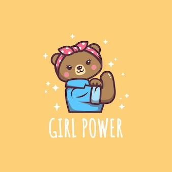 Niedliche bären-mädchen-kraft