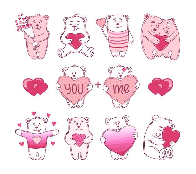 Niedliche bären mit herzen valentinstag eingestellt. illustration.