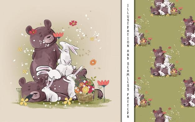 Niedliche bären- und häschenillustrationen für kinder