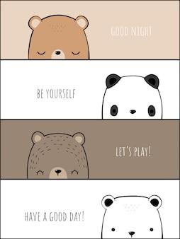 Niedliche bärenfamilie cartoon doodle banner