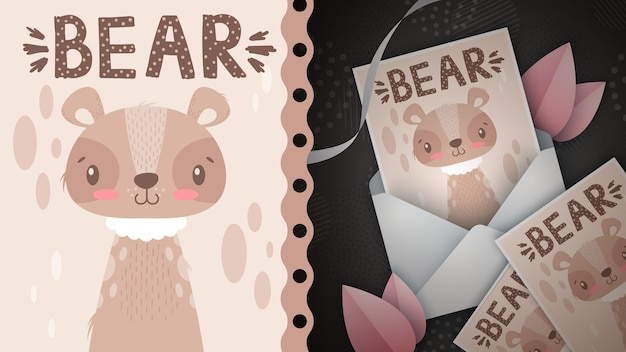 Niedliche bärenidee für grußkarte. hand zeichnen