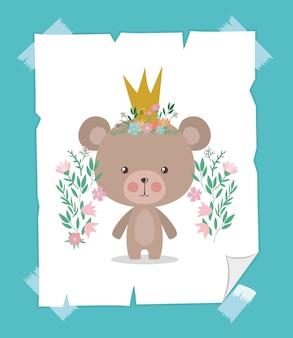 Niedliche bärenkarikatur mit krone