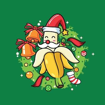 Niedliche bananenkarikaturen mit weihnachtskostümen