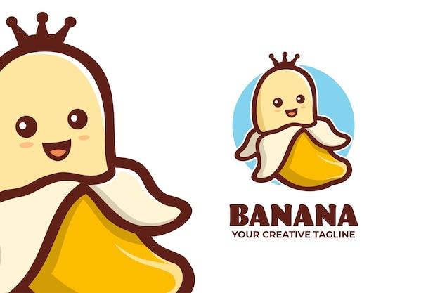 Niedliche bananenkönig-maskottchen-charakter-logo-vorlage