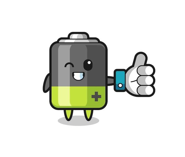 Niedliche batterie mit social-media-daumen hoch symbol, niedliches design für t-shirt, aufkleber, logo-element