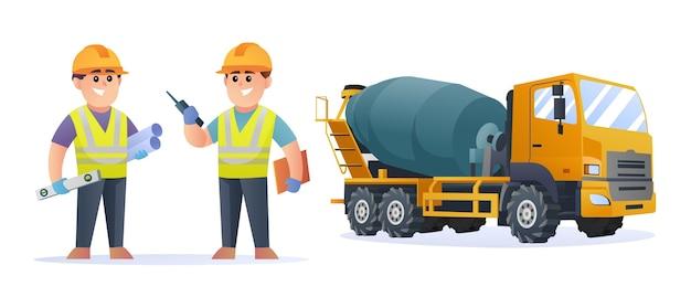 Niedliche bauingenieurfiguren mit betonmischer-lkw-illustration