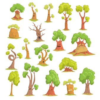 Niedliche baumcharaktere setzen, lustige humanisierte bäume mit verschiedenen gezeichneten bunten handillustrationen der emotionen auf einem weißen hintergrund
