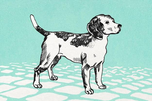 Niedliche beagle-hund-vintage-illustration auf grünem fliesenboden