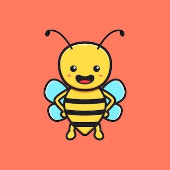 Niedliche biene maskottchen charakter cartoon symbol abbildung. entwerfen sie isolierten flachen cartoon-stil