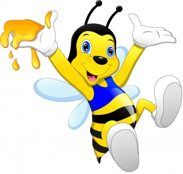 Niedliche bienenkarikatur mit honig