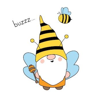 Niedliche bienenzwerge happy bee gnome vector hand gezeichnete illustration