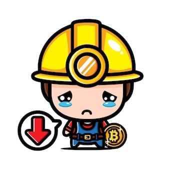 Niedliche bitcoin miner charakter design