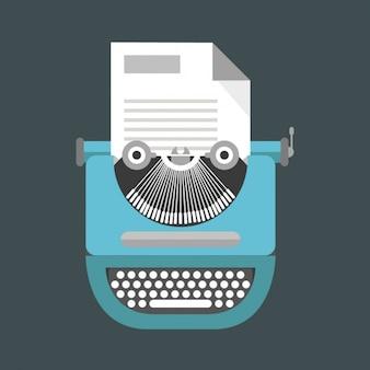 Niedliche blaue schreibmaschine
