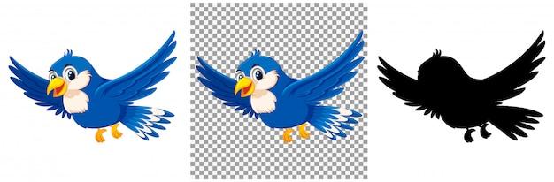 Niedliche blaue vogelkarikaturfigur