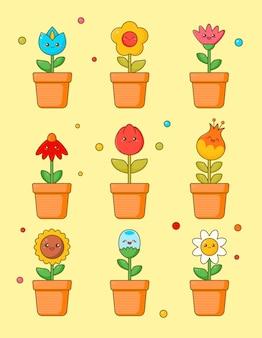 Niedliche blume kawaii clipart aufkleber set. blumenpflanze mit anime-gesicht verschiedene emoji-entwurf für grünes gekritzel. verschiedene comic plant geschenk icon kit für kinder. flache karikatur-vektor-illustration