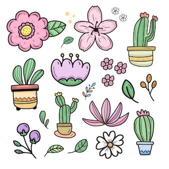 Niedliche blumen- und kaktuskarikaturaufkleber-sammlung