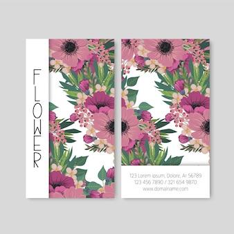 Niedliche blumenmuster visitenkarte visitenkarte design-vorlage