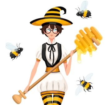 Niedliche braune haarhonighexe, die mit bienen fliegt. frau, die honigschöpflöffel hält, zauberstab. gestreiftes kostüm im bienenstil. illustration auf weißem hintergrund
