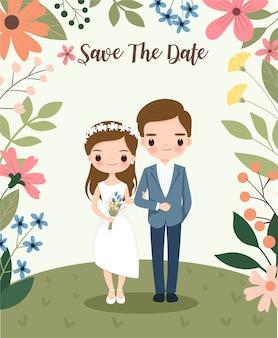 Niedliche braut und bräutigam auf blumenhochzeits-einladungskarte