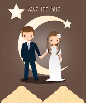 Niedliche braut und bräutigam sparen das datum