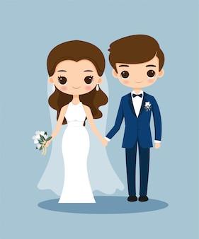 Niedliche braut- und bräutigamkarikatur auf hochzeitseinladungskarte