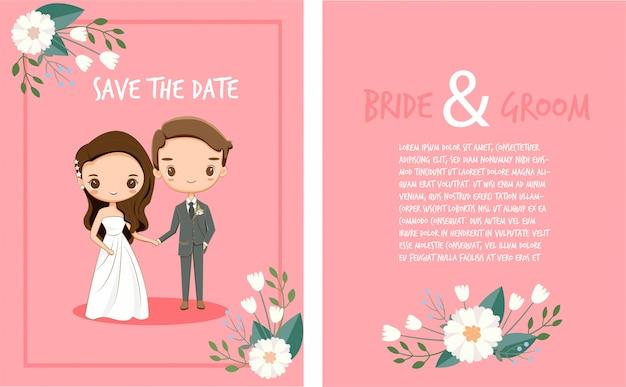 Niedliche braut- und bräutigamkarikatur auf hochzeitseinladungskartenschablone