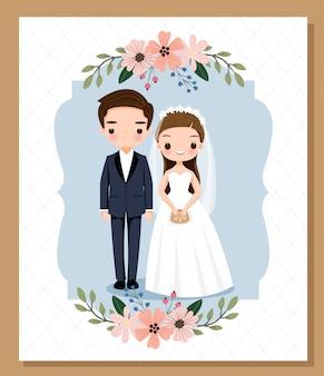 Niedliche braut- und bräutigamkarikatur für hochzeitseinladungskartenschablone
